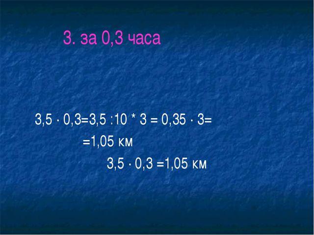 3. за 0,3 часа 3,5 ∙ 0,3=3,5 :10 * 3 = 0,35 ∙ 3= =1,05 км 3,5 ∙ 0,3 =1,05 км