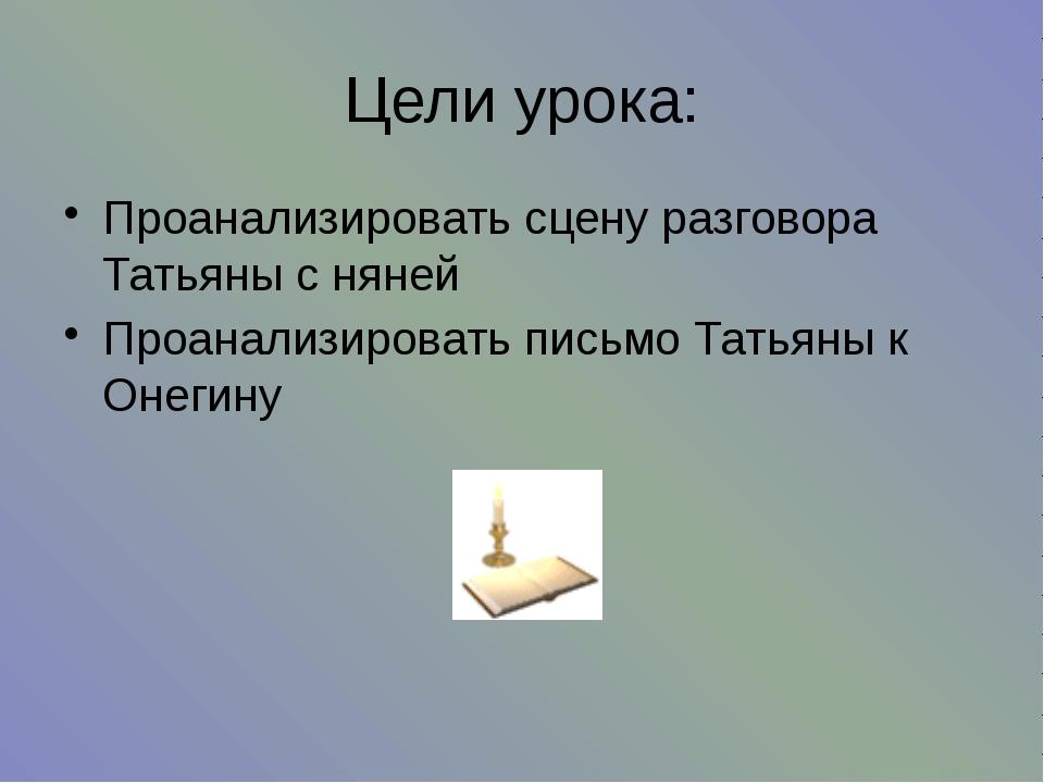 Цели урока: Проанализировать сцену разговора Татьяны с няней Проанализировать...