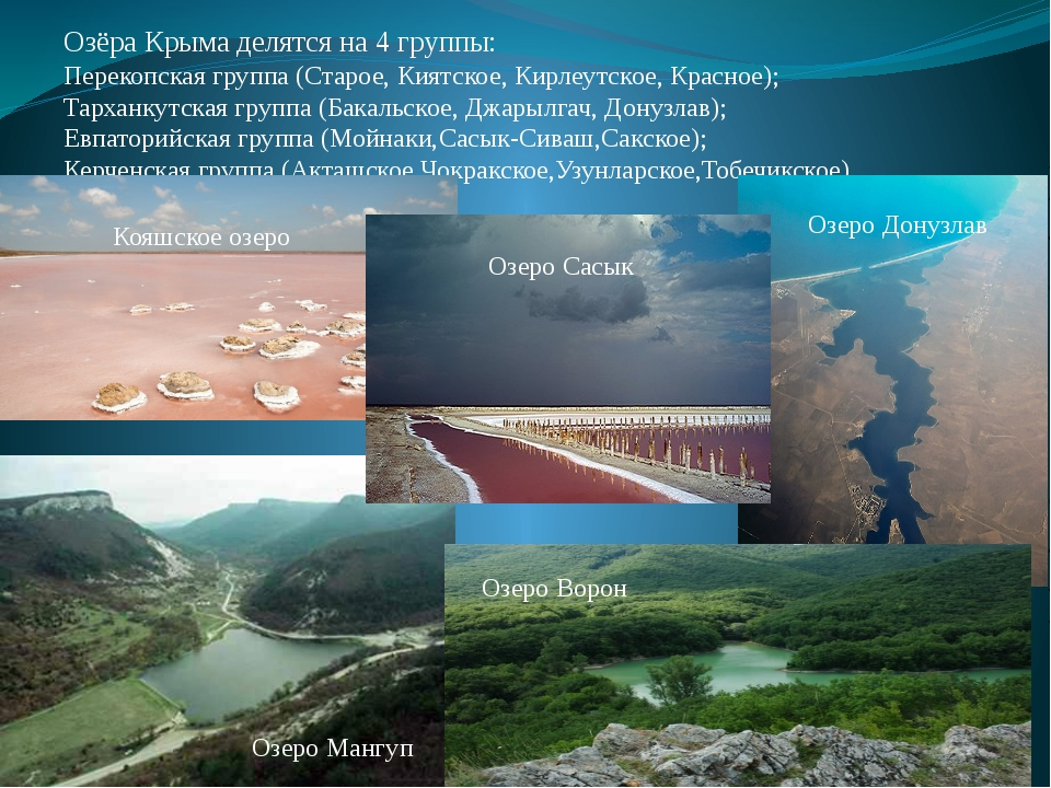 Озёра Крыма делятся на 4 группы: Перекопская группа (Старое, Киятское, Кирлеу...