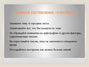 Правила составления «кластера» Запишите тему в середине листа Ззаписывайте вс