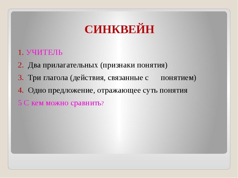 СИНКВЕЙН 1. УЧИТЕЛЬ 2. Два прилагательных (признаки понятия) 3. Три глагола (...