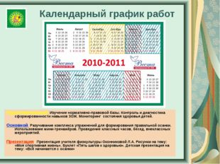 Календарный график работ Подготовительный Изучение нормативно-правовой базы.