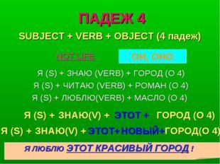 ПАДЕЖ 4 Я (S) + ЗНАЮ (VERB) + ГОРОД (O 4) Я (S) + ЧИТАЮ (VERB) + РОМАН (O 4)