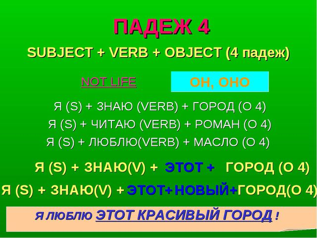 ПАДЕЖ 4 Я (S) + ЗНАЮ (VERB) + ГОРОД (O 4) Я (S) + ЧИТАЮ (VERB) + РОМАН (O 4)...