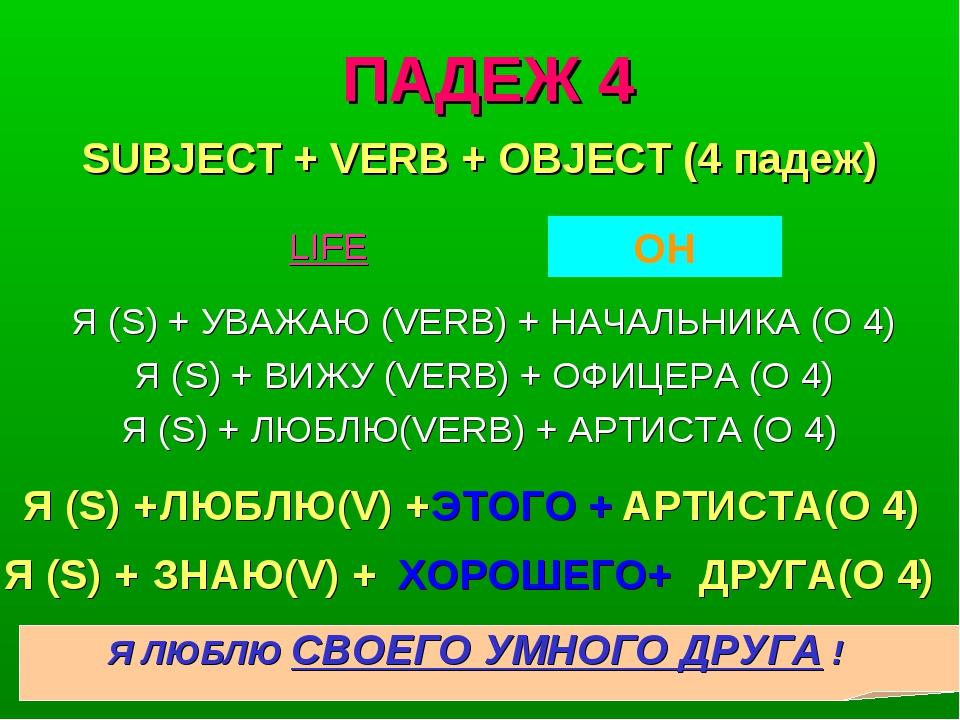 ПАДЕЖ 4 Я (S) + УВАЖАЮ (VERB) + НАЧАЛЬНИКА (O 4) Я (S) + ВИЖУ (VERB) + ОФИЦЕР...