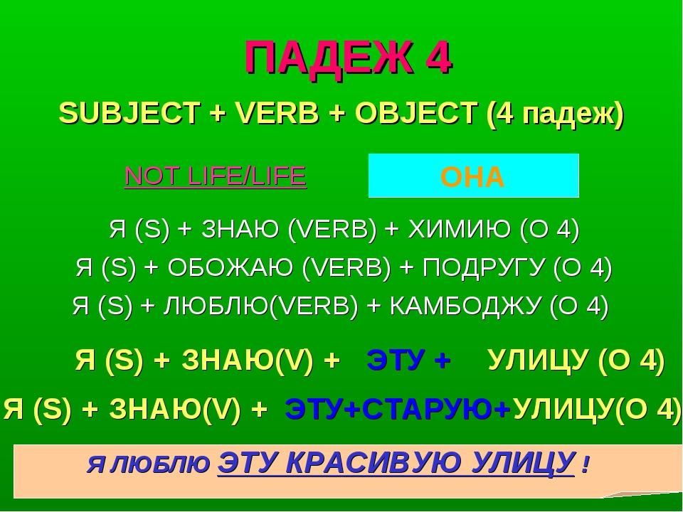 ПАДЕЖ 4 Я (S) + ЗНАЮ (VERB) + ХИМИЮ (O 4) Я (S) + ОБОЖАЮ (VERB) + ПОДРУГУ (O...