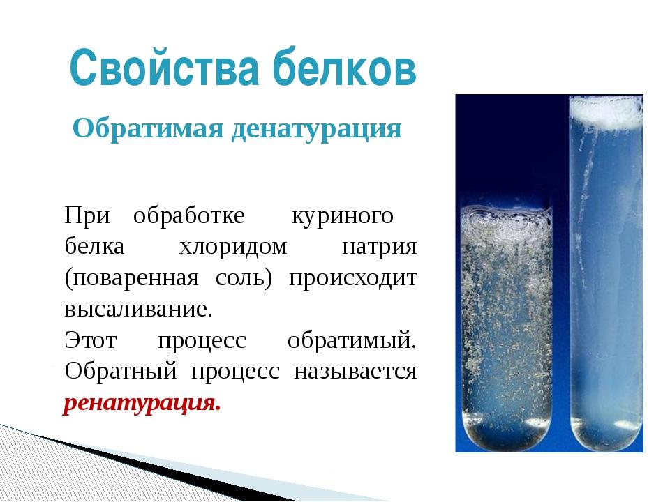 При обработке куриного белка хлоридом натрия (поваренная соль) происходит выс...