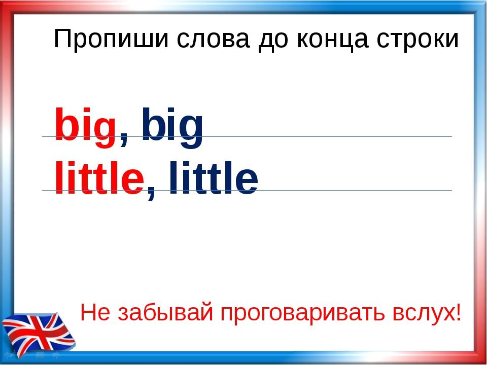 Пропиши слова до конца строки big, big little, little Не забывай проговариват...