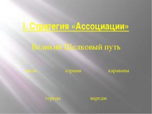 I. Стратегия «Ассоциации» Великий Шелковый путь шелк страны караваны города н