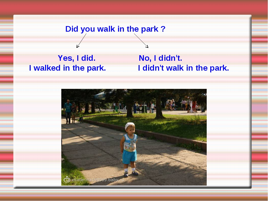 Did you walk in the park ? Yes, I did. No, I didn't. I walked in the park. I...