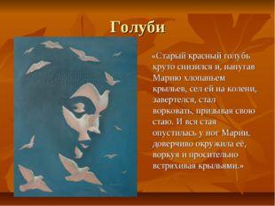 Голуби «Старый красный голубь круто снизился и, напугав Марию хлопаньем крыль