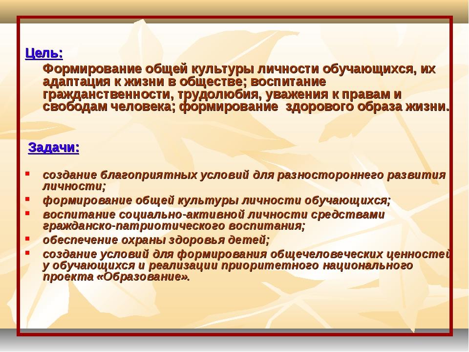 Цель: Формирование общей культуры личности обучающихся, их адаптация к жизн...