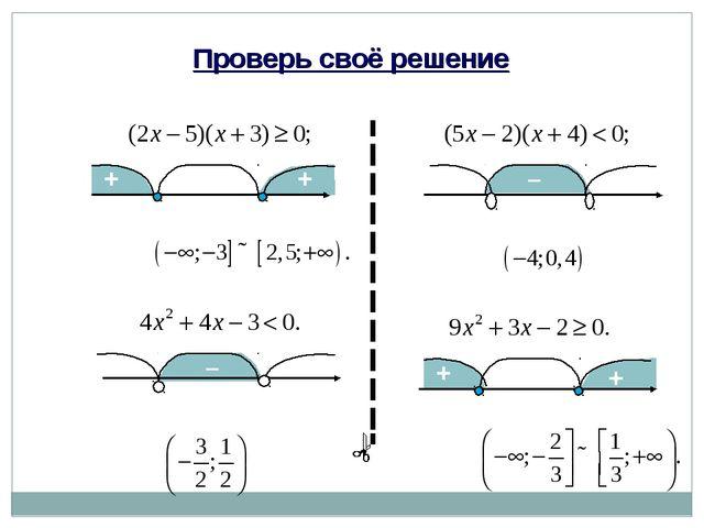 Проверь своё решение а) а) 2,5 0,4 -3 -4 Ответ: Ответ: + + – + + – б) б) 1/2...