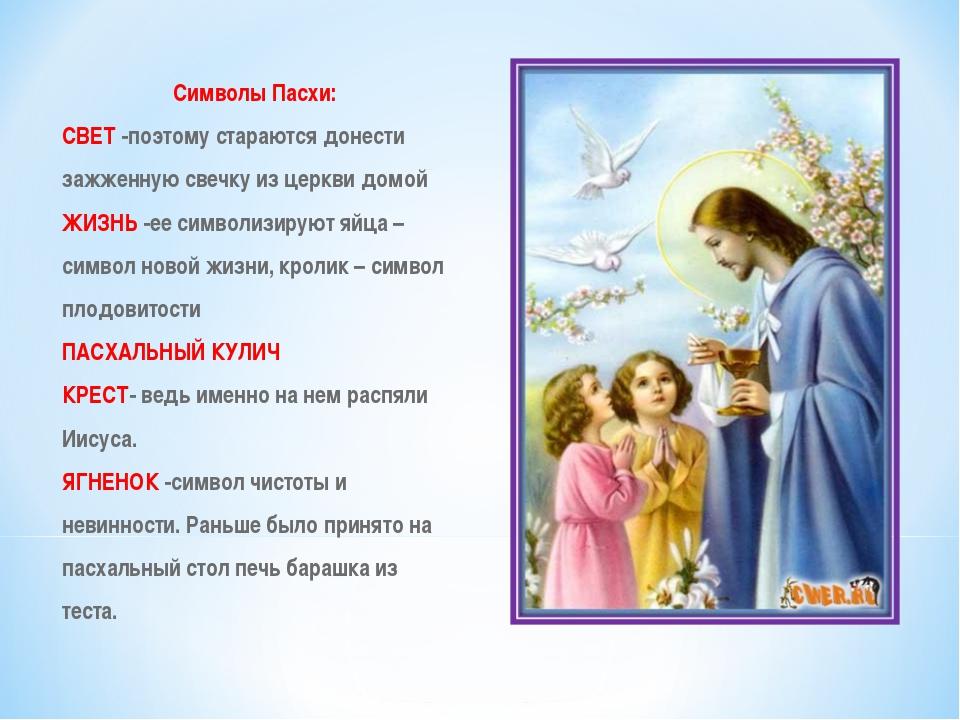 Символы Пасхи: СВЕТ-поэтому стараются донести зажженную свечку из церкви дом...