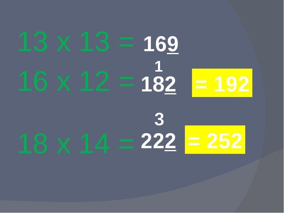 13 х 13 = 16 х 12 = 18 х 14 = 169 182 1 = 192 222 3 = 252