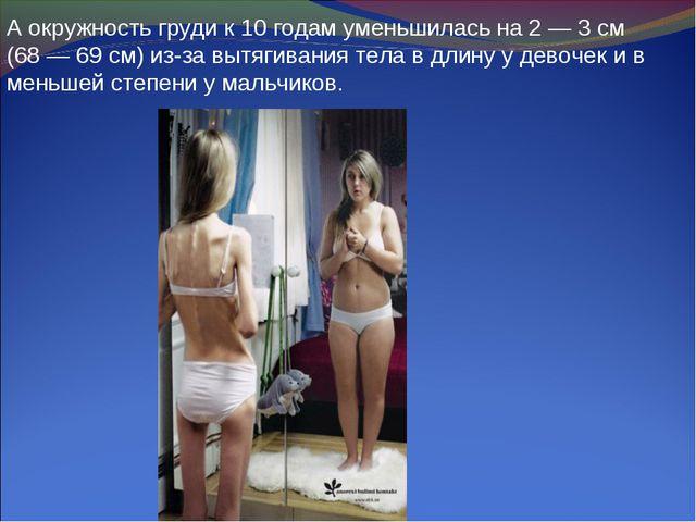 А окружность груди к 10 годам уменьшилась на 2 — 3 см (68 — 69 см) из-за вытя...