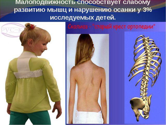 Малоподвижность способствует слабому развитию мышц и нарушению осанки у 3% ис...