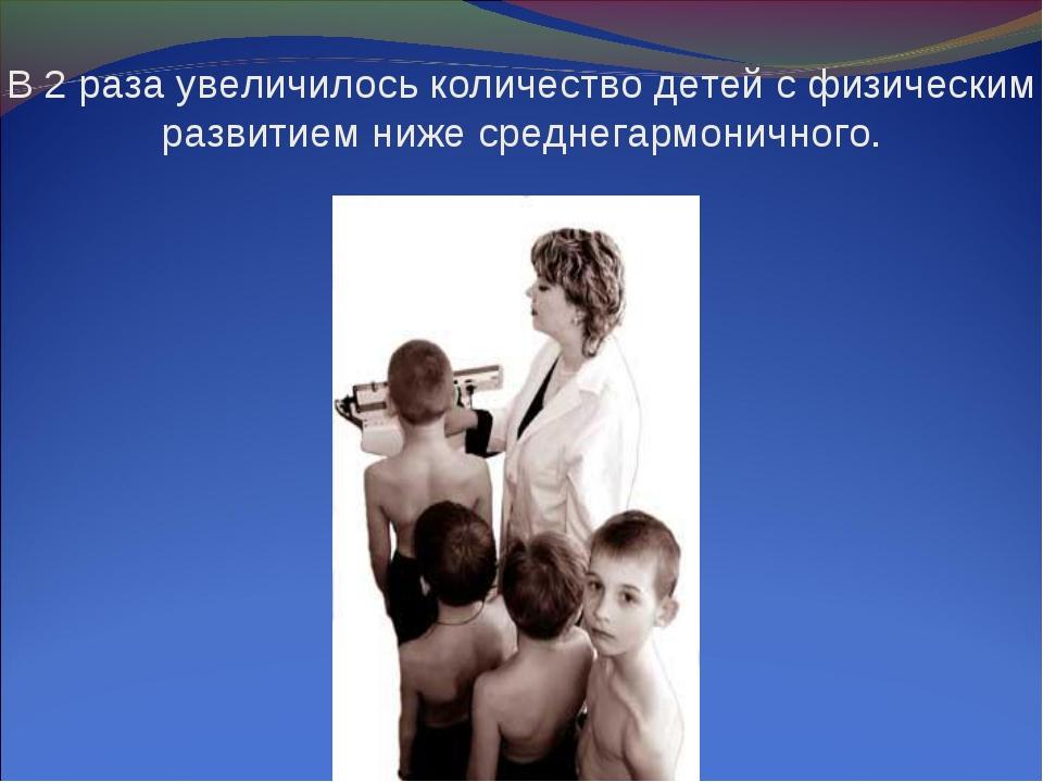 В 2 раза увеличилось количество детей с физическим развитием ниже среднегармо...
