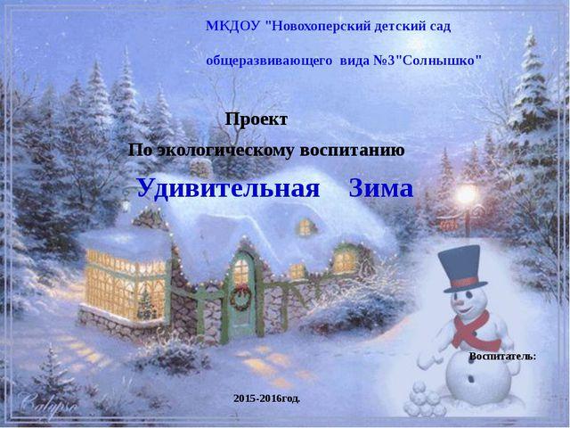 Проект По экологическому воспитанию Удивительная Зима Воспитатель: Аулова М....