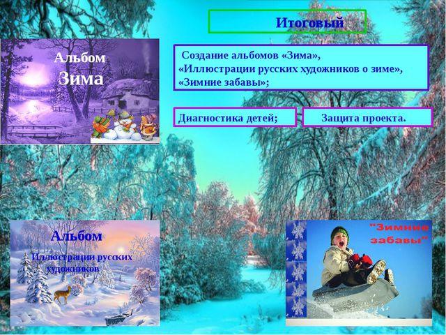 Итоговый Создание альбомов «Зима», «Иллюстрации русских художников о зиме»,...