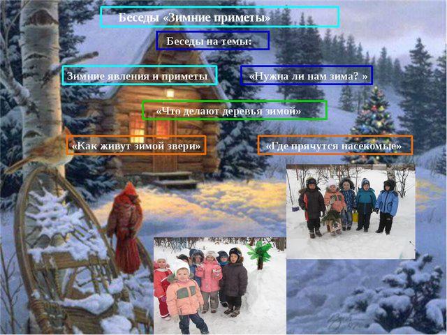 Беседы «Зимние приметы» Беседы на темы: Зимние явления и приметы «Что делают...