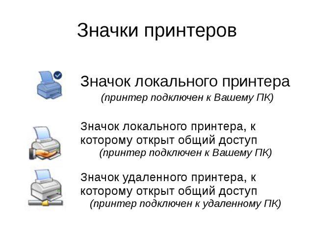 Значки принтеров Значоклокального принтера (принтерподключен к Вашему ПК) Зна...