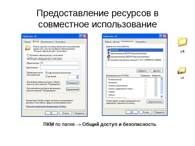 Предоставление ресурсов в совместное использование ПКМ по папке  Общий досту...