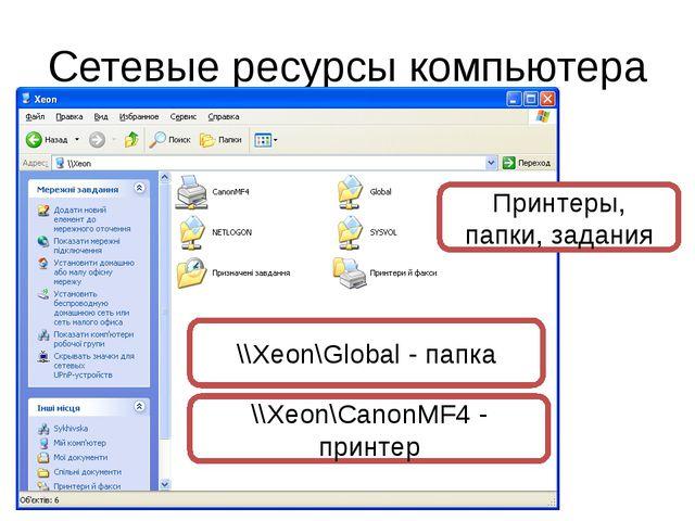 Сетевые ресурсы компьютера Принтеры, папки, задания \\Xeon\Global - папка \\X...