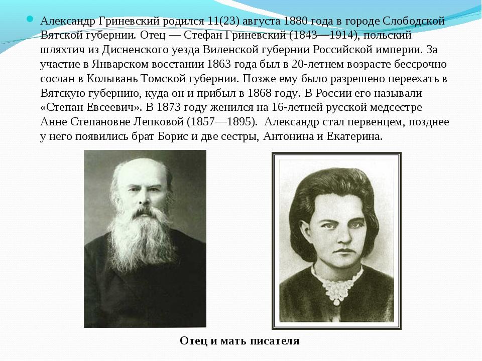 Александр Гриневский родился 11(23) августа 1880 года в городе Слободской Вят...
