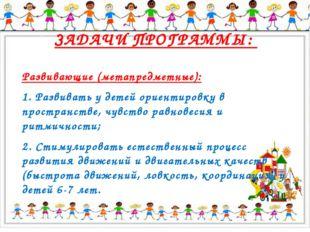 ЗАДАЧИ ПРОГРАММЫ: Развивающие (метапредметные): 1. Развивать у детей ориенти