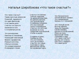 Наталья Широбокова «Что такое счастье?» Что такое счастье? Таким простым вопр