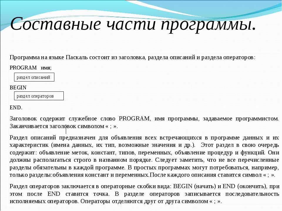 Составные части программы. Программа на языке Паскаль состоит из заголовка, р...