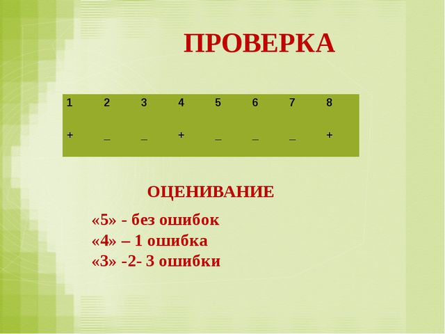 ПРОВЕРКА ОЦЕНИВАНИЕ «5» - без ошибок «4» – 1 ошибка «3» -2- 3 ошибки 1234...