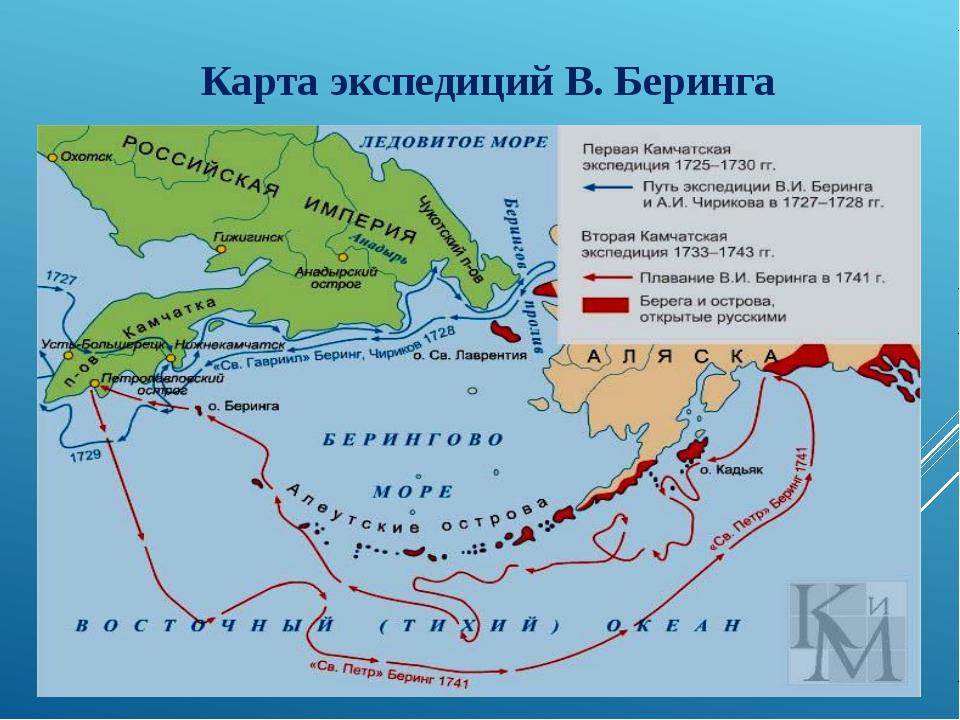 Карта экспедиций В. Беринга