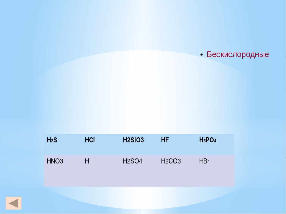 H2S HCl H2SiO3 HF H3PO4 HNO3 HI H2SO4 H2CO3 HBr