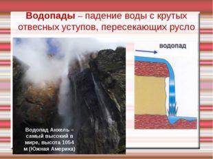 Водопады – падение воды с крутых отвесных уступов, пересекающих русло Водопад