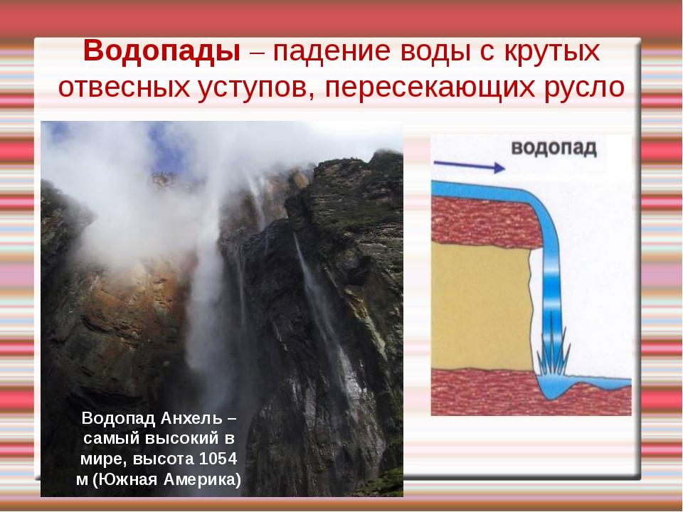Водопады – падение воды с крутых отвесных уступов, пересекающих русло Водопад...