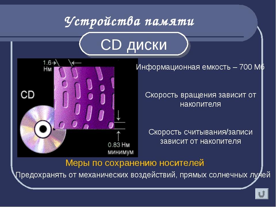 Устройства памяти CD диски Информационная емкость – 700 Мб Скорость вращения...