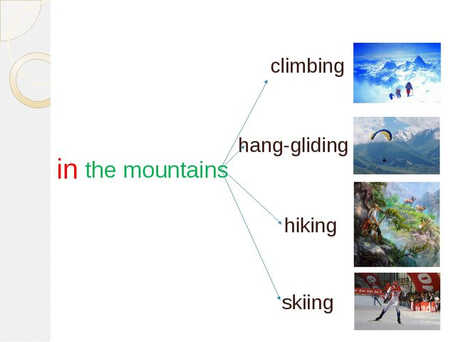 in the mountains hang-gliding skiing hiking climbing