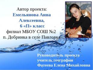 Автор проекта: Емельянова Анна Алексеевна, 6 «П» класс филиал МБОУ СОШ №2 п.