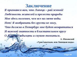 Заключение Я признаюся вам, что Липецк – рай земной! Любезность жителей и пре