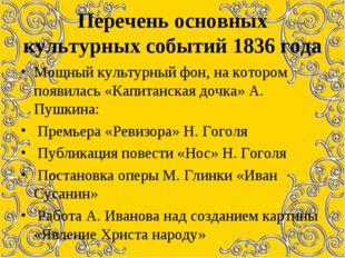 Перечень основных культурных событий 1836 года Мощный культурный фон, на кото