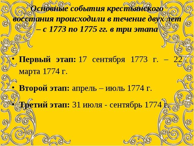 Основные события крестьянского восстания происходили в течение двух лет – с 1...