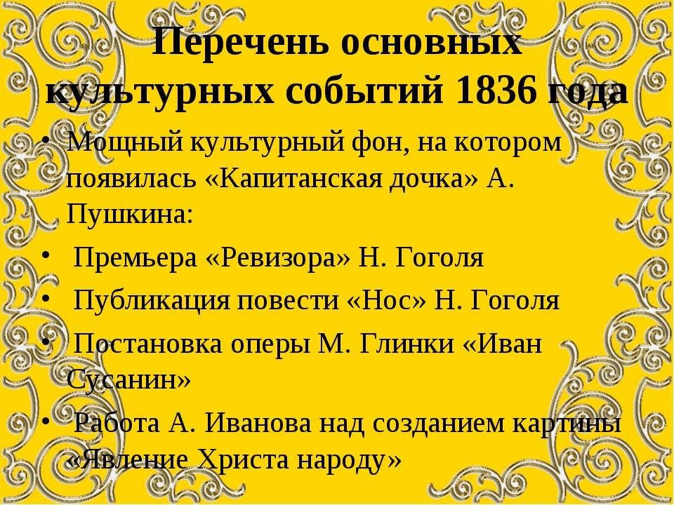 Перечень основных культурных событий 1836 года Мощный культурный фон, на кото...