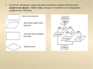 Для более наглядного представления алгоритма широко используется графическая