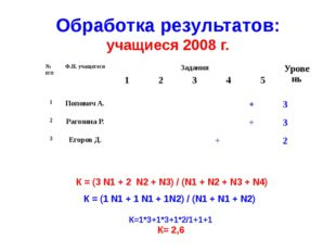 Обработка результатов: учащиеся 2008 г. К = (3 N1 + 2 N2 + N3) / (N1 + N2 + N