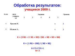 Обработка результатов: учащиеся 2009 г. К = (3 N1 + 3 N1 + N3) / (N1 + N2 + N