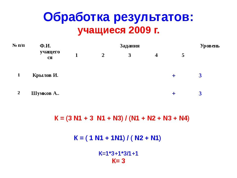 Обработка результатов: учащиеся 2009 г. К = (3 N1 + 3 N1 + N3) / (N1 + N2 + N...