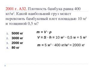 2001 г. А32. Плотность бамбука равна 400 кг/м3. Какой наибольший груз может п
