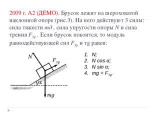 2009 г. А2 (ДЕМО). Брусок лежит на шероховатой наклонной опоре (рис.3). На не